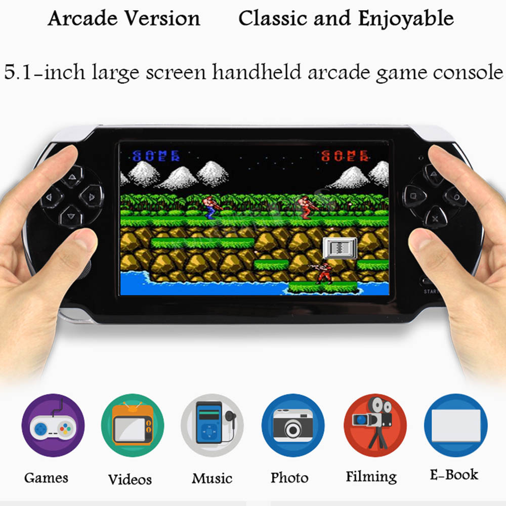 Pocket Game Console 8 16G Nostalgic Game Player 5 1 inch Large Screen Rechargeable Handheld Entertainment