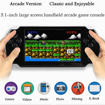 Pocket Game Console 816G Nostalgic Game Player 5.1 inch Large Screen Rechargeable Handheld Entertainment FC Vibrato Contra