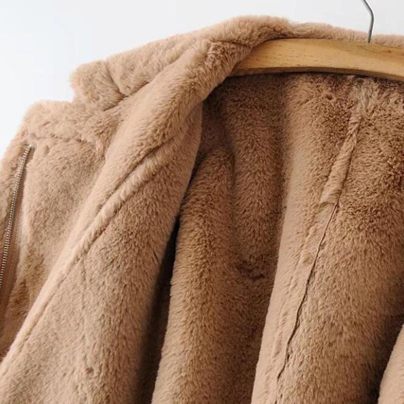 Vêtements Cuir Femme Veste Faux kaki rose Ceket Femmes 2018 Mujer En Abrigo Hiver Manteau Longue Gris Deri RqA7gq5w