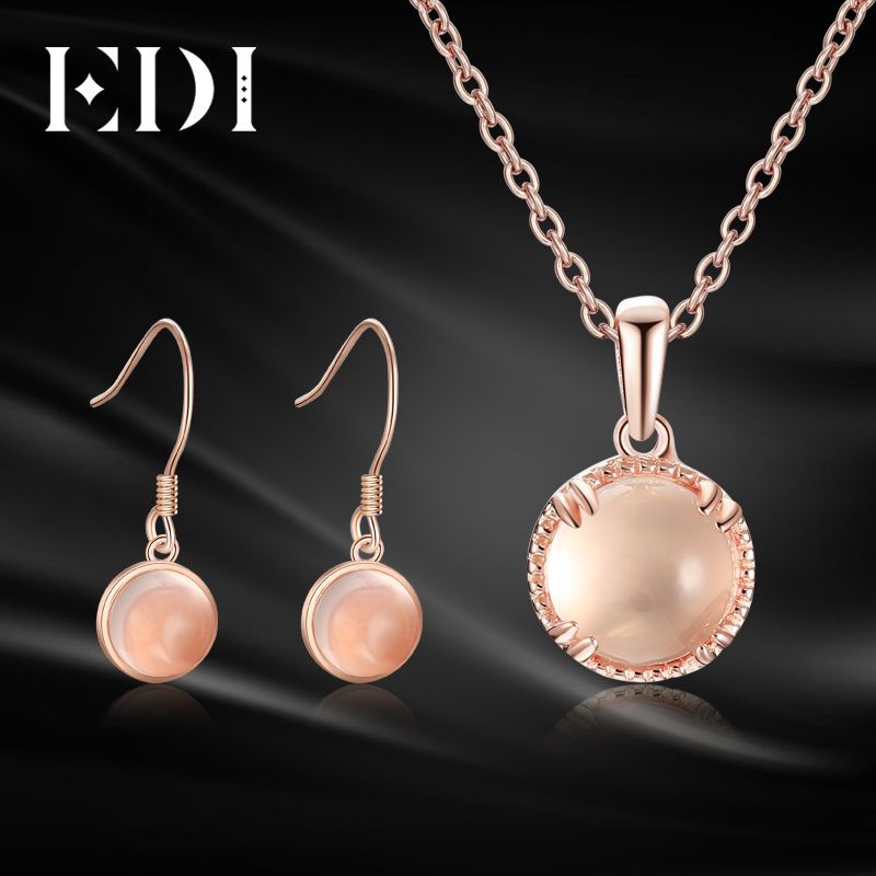 EDI Cute Girl 7mm Round Natural Crystal Rose Quartz Jewelry Set 925 Sterling Silver Pendant Necklaces Drop Earrings For Women pair of cute rhinestone embellished dancing girl shape drop earrings for women