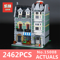 DHL Lepin15008 2462Pcs City Street Green Grocer Model Building Kits Blocks Bricks Compatible Educational Toy 10185