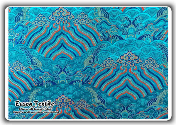 Cinese Broccato Di Seta Cuscino Costume Tessuto Turchese Blu