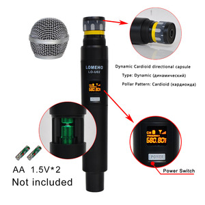 Image 3 - LO U02 Easy to use Professional 2 Handheld UHF Frequencies Dynamic Capsule 2 Channel Wireless Microphone for Karaoke System