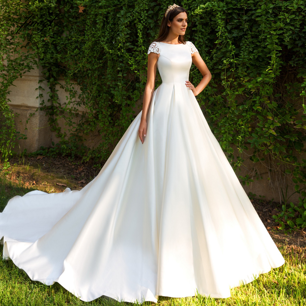 Fmogl Sexy Illusion Matte Satin Ball Gown Wedding Dresses 2019 Appliques Beaded Cap Sleeve Court Train Vintage Bridal Gowns