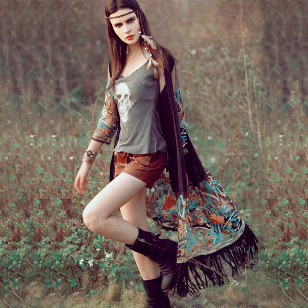 2018 Fashion  Bamskarosa Bohemian Style  Summer Kimono Cardigan Casual Fashion Boho Hippie Embroidery Tassel Ladies Shirts Top