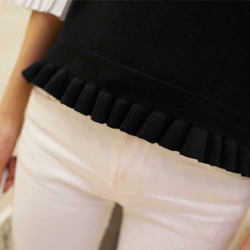 Chic han editie trui jas hoorn mouw vrouwelijke 2019 nieuwe agaric sets chiffon leuke trui van meisje