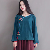 Runback Fall Folk Style Cotton Linen Long Sleeved Women S Shirts Blouses O Neck Hoodies Loose