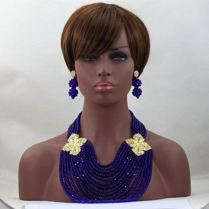 Amazing Royal Blue  African Beads Wedding Jewelry Set Chunky Indian Bridal Necklace Earrings Bracelet Set Free Shipping HX555Amazing Royal Blue  African Beads Wedding Jewelry Set Chunky Indian Bridal Necklace Earrings Bracelet Set Free Shipping HX555