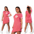 Большие размеры 2017 о-образным вырезом с коротким рукавом печати dress повседневная одежда плюс размер 6xl 5xl 4xl vestidos лето DRESS Vestidos