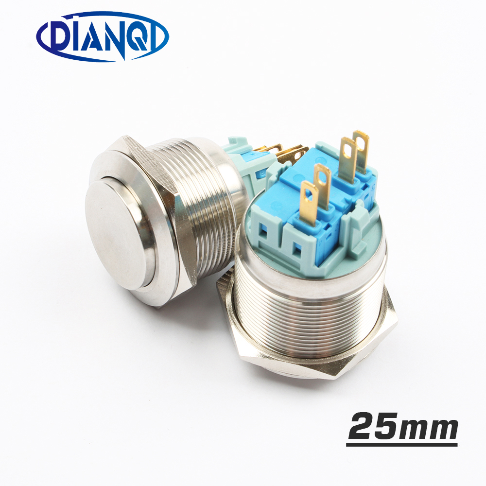 25mm Stainless Steel Metal Push Button Switch Round Momentary 4 Pin Wholesale Latching Lighted Switches Terminal Car Reset 1no1nc In From Lights Lighting On