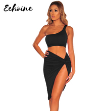 Echoine Sexy Two Piece Set Women Crop Top And High Split Skirt Beach Bodycon Matching Sets Summer Holiday Clothes 4 Colors