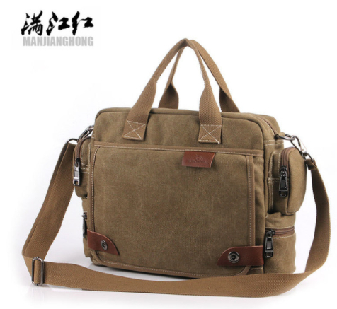 MANJIANGHONG Men Canvas Messenger Bag male Crossbody Bag Canvas Shoulder Messenger Bags Men's Handbag business Tote Briefcase