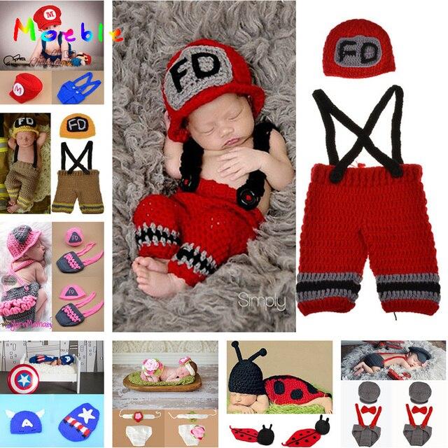 Crochet Bébé Chapeau shorts Ensemble Nouveau-Né Bébé Pompier Costume  Infantile Garçon Tricoté Pompiers Photographie dc4145ebc5c