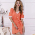 2016 new arrival sleep wear elegant sweet nightgowns orange  color pijamas top quality  for women