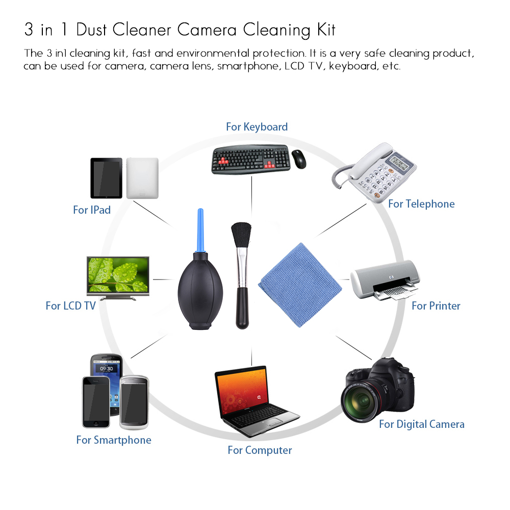 Image 5 - 6 in 1 Dust Cleaner Camera Cleaning Kit Lens Brush+ Cleaning Cloth+ Air Blower for Canon Nikon Sony DSLR ILDC Camera and Lens-in Photo Studio Accessories from Consumer Electronics