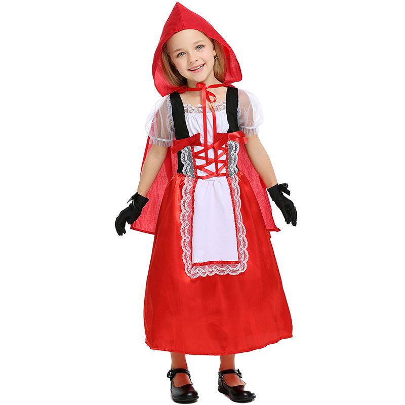 Svitania Cosplay Beautiful Little Red Hat Riding Hood Halloween Party Costume Dress With Gloves Cute