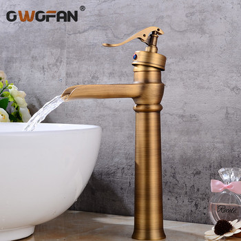 Basin Faucets Waterfall Bathroom Faucet Single handle Basin Mixer Tap Bath Antique Faucet Brass Sink Water Crane Silver S79-397 basin faucets bath antique finish brass water tap bathroom basin sink faucet vanity faucet wash basin mixer taps crane 6633
