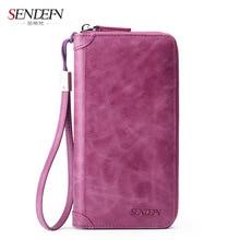 Sendefn Genuine Leather Ladies Purse Women Wallets Card Holder Wallet Clutch Money Bag Slim Phone Pocket Cases Purses