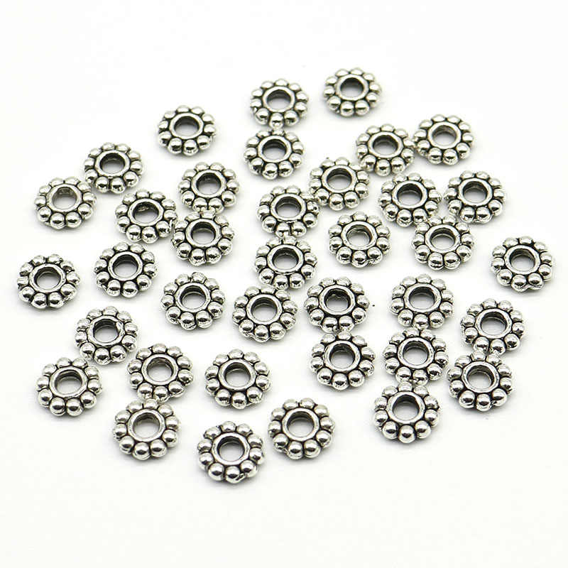 6mm Wholesale 100pcs/200pcs/lot Daisy Flower Spacers bead Metal Gold Tibetan Silver Spacer Beads for Jewelry Making hole is 2mm