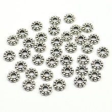 6mm Wholesale 100pcs/200pcs/lot Daisy Flower Spacers bead Metal Gold Tibetan Silver Spacer Beads for Jewelry Making hole is 2mm(China)