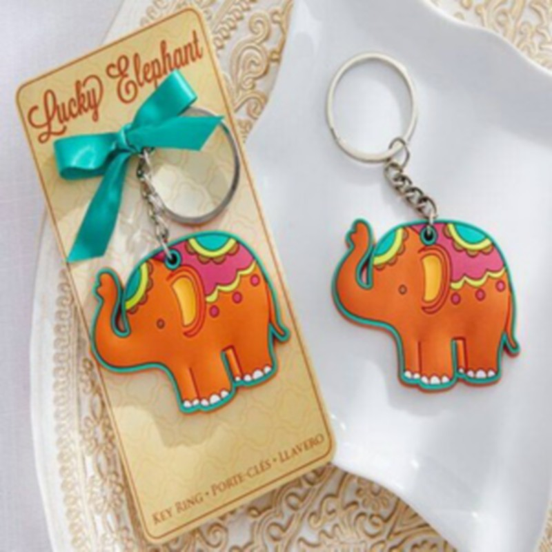 elephant design rubber elephant keychain ring baby shower favors and gift