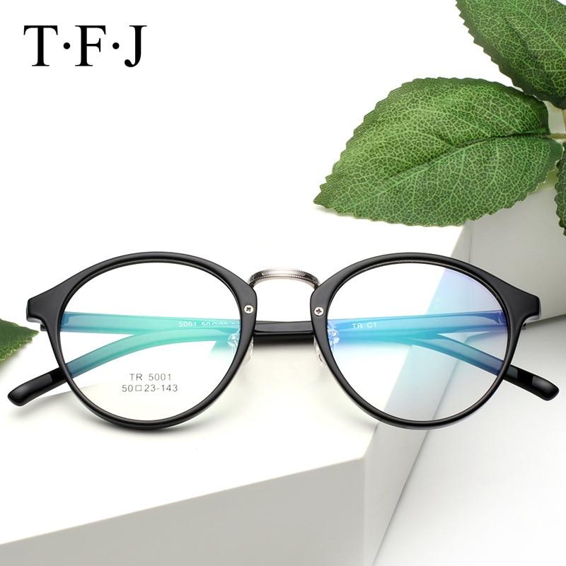 TFJ Nové dámské brýle frmae dámské brýle kulaté optické brýle rám čiré brýle dioptrické brýle kovové slitiny