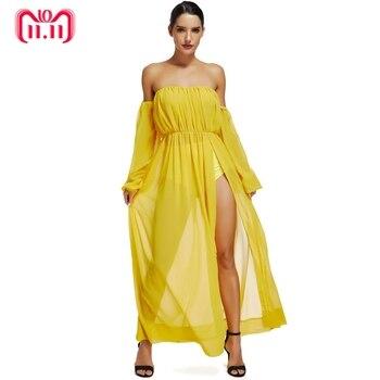 2351f4567 La dama ciervo 2019 verano Sexy vestido del Club vestido Maxi de gasa con  mangas largas con bragas ropa de las mujeres vestido largo amarillo