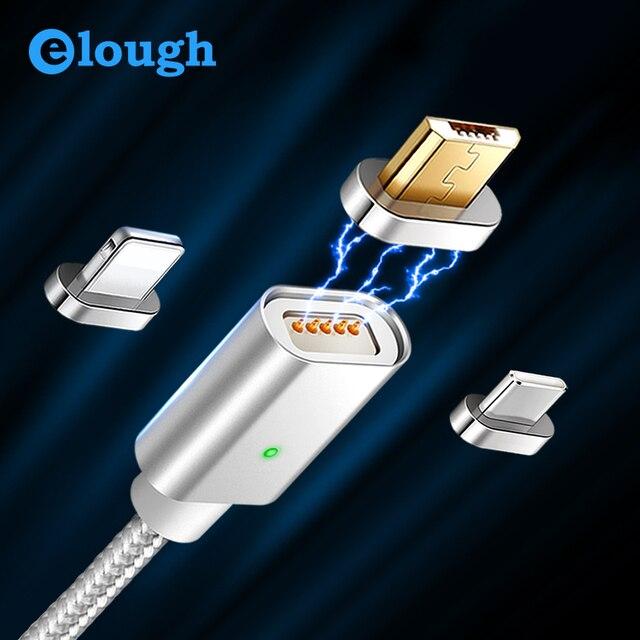 Elough E04 Магнитная Зарядное устройство USB кабель для iPhone XS Micro Тип usb c зарядный кабель на магнитном креплении Быстрая зарядка данных код провода