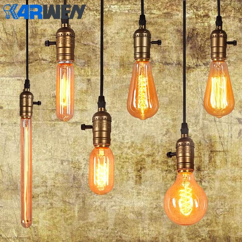 KARWEN Edison Bulb E27 220v Incandescent Lamp 40W Vintage Lamp Pendant Light Retro Lighting Ceiling lampadas Filament Bulb