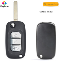 KEYECU Aftermarket Flip Remote Car Key With 3 Buttons & 433MHz & 4A Chip Fob for Benz Smart Fortwo 453 Forfour 2015 2016 2017