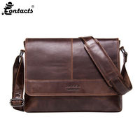 CONTACT S MB091 Men Messenger Bags Casual Genuine Leather Bags Men Real Leather Business Casual Genuine