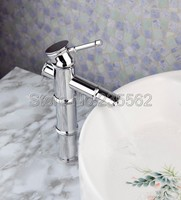 Polished Chrome Finish Bathroom Single Lever Basin Faucet Bamboo Style Vessel Sink Mixer Tap lnf047