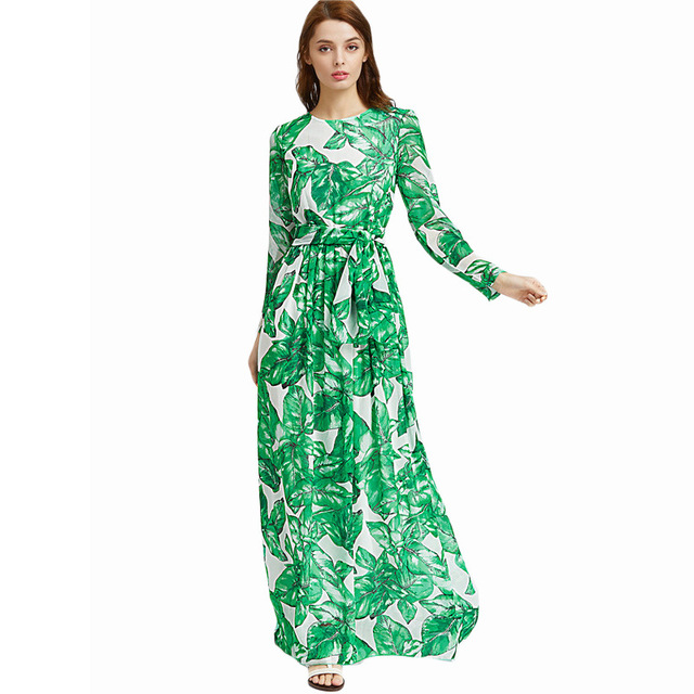 7d57fba5ce63 Boho style long dress women Full shoulder beach Summer Autumn dresses  Leaves print white Green maxi dress vestidos de festa