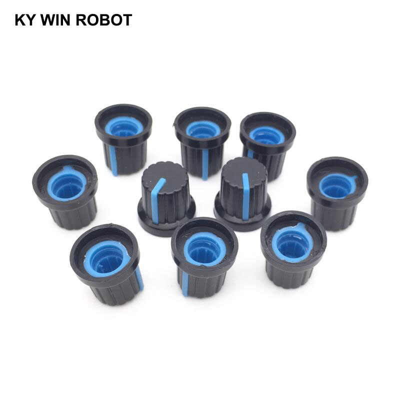 New 10 Pcs Blue 6mm Shaft Hole Dia Plastic Threaded Knurled Potentiometer Knobs Caps