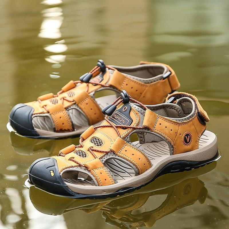 TKN 2019 Top Quality Outdoor Sandal Men Summer Comfortable Soft Genuine Leather Sandals Man Sport Slippers Zapatos De Hombre7239