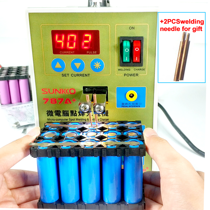 SUNKKO 787A+ spot welding Lithium battery spot welder 18650 battery Micro battery welding machine pulse with LED light 220V weld цена и фото