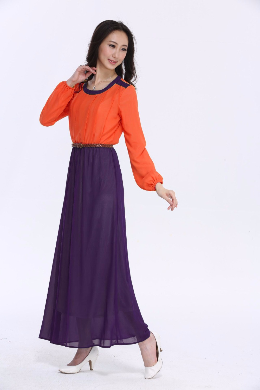 Adult Fashion Hit Color Round Neck Muslin Women Fashion Dress Ankle-length Chiffon Robe Long-Sleeves Women Free Size Dress