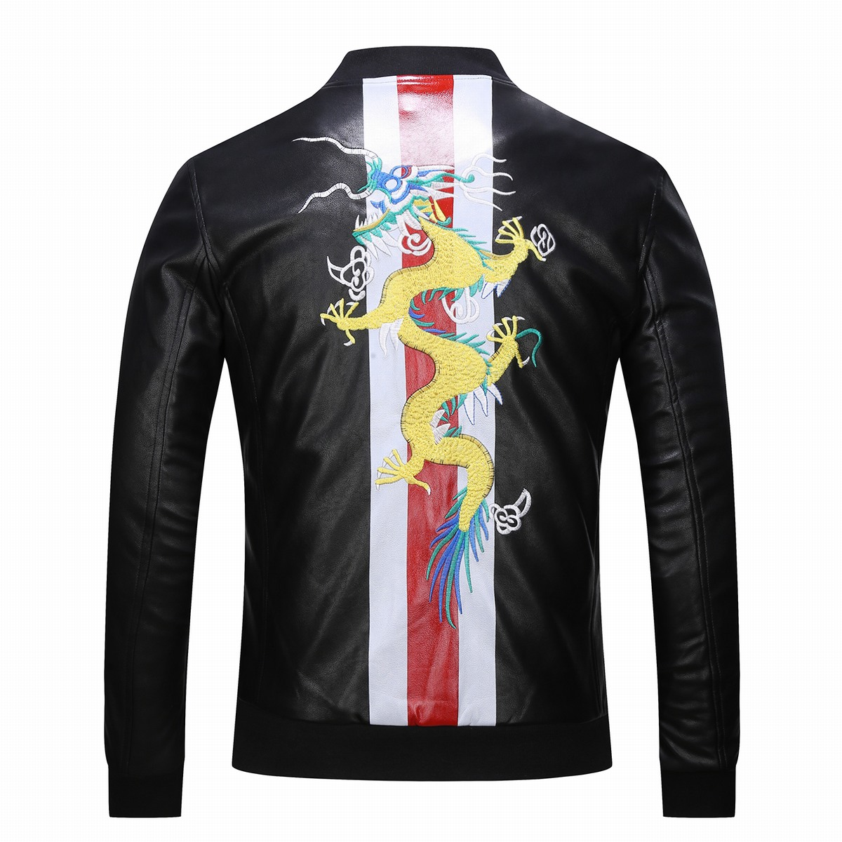 Glorious Prototype Alex Mercer Black Leather Jacket Coat Dragon Embroidery Mens Jacket Cosplay A Brother Coat Leather Jacket Sweater Men's Costumes