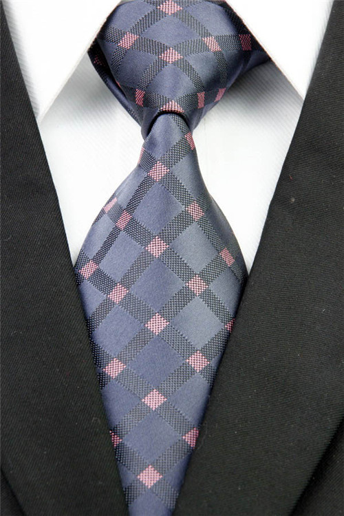 NT0230 Gray Pink Plaid Man's Classic Jacquard Woven Silk Polyester Fashion Tie Luxury Business Wedding Party Casual Necktie - askformore store