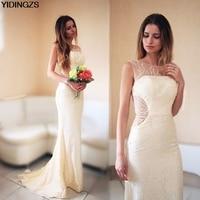 YIDINGZS Robe De Soiree Lace Beading Sexy Backless Long Evening Dresses Bride Banquet Elegant Floor Length