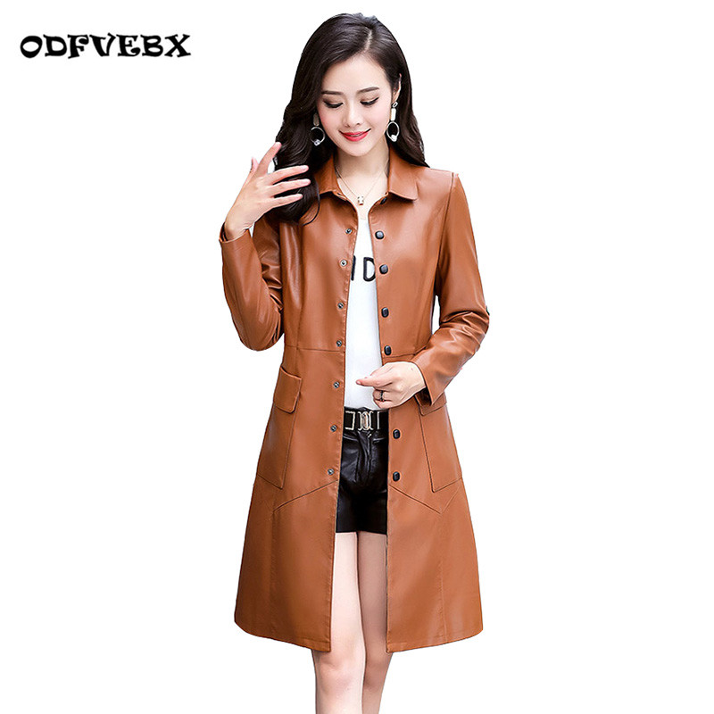 Cotton quilted   leather   coat women's clothing 2019 spring autumn long High-end PU   leather   casual windbreaker jacket femaleODFVEBX