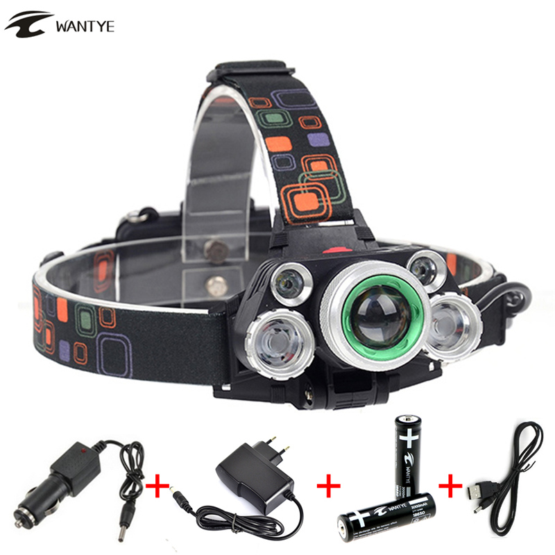 Zoom LED Headlamp Headlight 12000Lm XML T6+4R5 Head Flashlight Torch lamp Rechargeable 18650 Camping Hunting Fishing light boruit 10000lm xml t6 chips led headlamp rechargeable zoom headlight hunting camping head light flashlight by 18650 battery