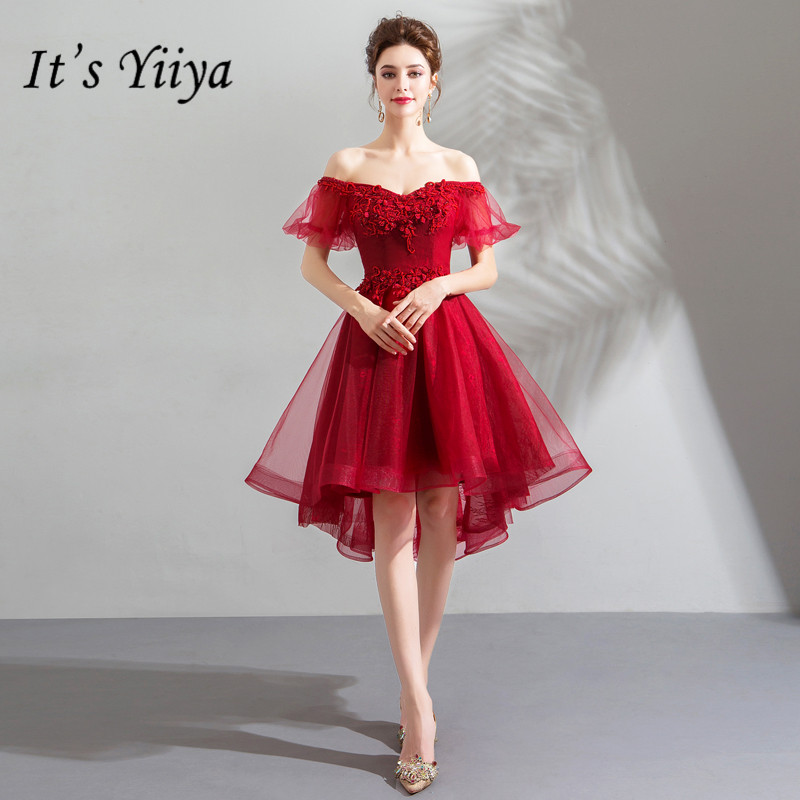 It's YiiYa   Cocktail     Dresses   Appliques Beading Embroidery Formal   Dress   Boat Neck Lantern Sleeve High Low Length Party Gowns E192