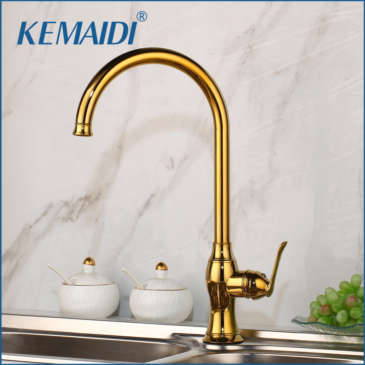KEMAIDI Luxury Gold Kitchen Faucet Gold Brass For Cold And Hot Mixer Tap Sink Faucet Vegetable Washing Basin Brushed Brass