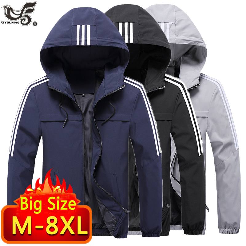 Plus Size 6XL 7XL 8XL Jacket Men Windbreaker Spring Autumn Fashion Jacket Men's Hooded Casual Jackets Male Outwear Men Coat