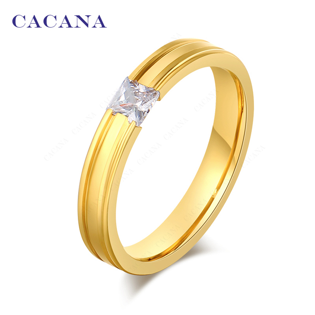 CACANA Titanium Stainless Steel Rings For Women Catch A CZ Fashion Jewelry Whole