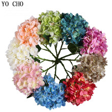 YO CHO Hydrangea Plant Silk Artificial Flower Branches Blue For Home Wedding Party Decoration Fake Ornaments