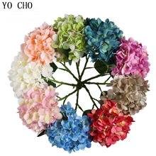 Flor artificial de seda yo cho, hortência, ramos azuis para decoração de festa de casamento, ornamento de hortência