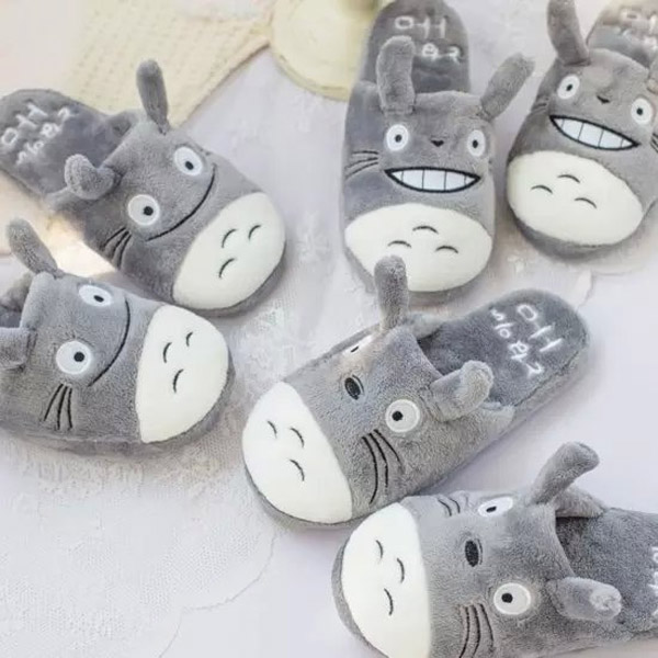 candice guo! super cute plush toy funny expressions Totoro soft household slipper couple slippers love birthday gift 1pair super slipper taipei