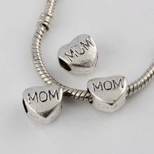 Hot ! 15pcs Antique Silver Alloy MOM Large Hole Bead Fit European Beads Bracelet